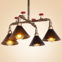 Industrial Pipe Chandelier with Valve and Cone Metal Shade, 4 Light