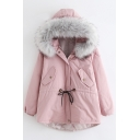 Simple Plain Faux Fur Hem Hooded Long Sleeve Zip Up Coat