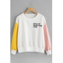 Color Block Letter Print Round Neck Zippered Long Sleeve Pullover Sweatshirt