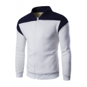Sportive Color Block Long Sleeves Stand-up Collar Zippered Baseball Jacket