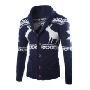 Winter's Collection Lapel Button Down Long Sleeves Deer Ethic Pattern Cardigan with Pockets
