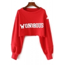 Simple Letter Print Round Neck Keyhole Long Sleeve Cropped Pullover Sweatshirt
