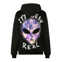 Cool Alien Letter Printed Long Sleeves Pullover Hoodie with Pocket