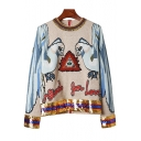 Chic Parrot Letter Embroidered Sequined Round Neck Long Sleeve Sweater
