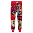 New Trendy 3D Colorful Character Print Drawstring Waist Pants