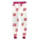 Fashion Contrast Trim Number Print Drawstring Waist Pants