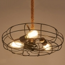 Industrial 18''W Fan Chandelier with Hanging Rope, 3 Light