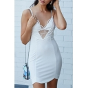 Summer Fashion V-Neck Zip-Back Spaghetti Straps Lace Panel Hollow Front Bodycon Mini Dress