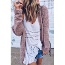 Popular Double Buttons V-Neck Long Sleeves Fluffy Faux Fur Longline Cardigan