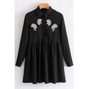 Chic Print Embroidered Lapel Collar Long Sleeve Button Down Mini Smock Dress