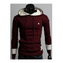 New Stylish Color Block Star Print Long Sleeve Leisure Hoodie