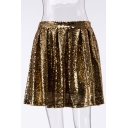 New Fashion Plain Sequined Zipper Mini Pleated Skirt