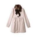 Fashion Faux Fur Collar Bow Long Sleeve Simple Plain Tunic Coat