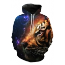 Fashionable 3D Tiger Print Drawstring Hood Long Sleeve Pocket Hoodie