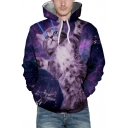 Digital Cat Print Long Sleeve Pocket Hoodie for Couple