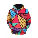 Childish Color Block Polka Dotted Long Sleeves Pullover Hoodie with Pocket
