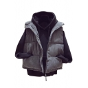 Fashion Simple Plain Lapel Zip Placket Padded Vest