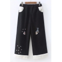 Fashion Embroidery Snowman Pattern Elastic Waist Cropped Pants