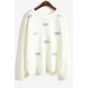 Cloud Patchwork Round Neck Long Sleeve Pullover Sweater
