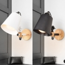 Industrial Wall Sconce with Drum Shape Metal Shade in Black/White