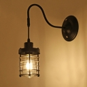 Industrial Wall Sconce with Gooseneck Fixture Arm and Cylinder Metal Cage, Black