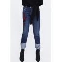 Floral Embroidered Zip Fly Turn Up Jeans