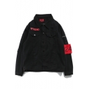 New Trendy Letter Ghost Hand Pattern Ripped Single Breasted Denim Jacket