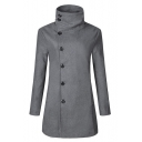 Warm High Neck Single Breasted Long Sleeves Slim-Fit Longline Coat