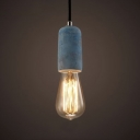 Industrial Mini Ceiling Pendant Light in Cement Style, Blue