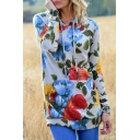 New Stylish Floral Print Long Sleeve Hoodie with Pocket