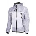 Stylish Color Block Print Long Sleeve Zipper Hooded Windproof Coat