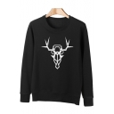 Trendy Abstract Deer Print Long Sleeve Round Neck Pullover Sweatshirt