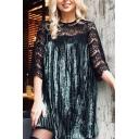 New Stylish Lace Panel 3/4 Length Sleeve Round Neck Pleated Mini Dress