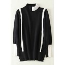 Asymmetric Color Block Mick Neck Long Sleeve Pullvoer Sweater
