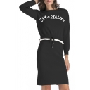 Simple Letter Long Sleeve Round Neck Sweater Knitted Skirt Co-ords