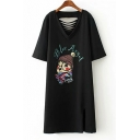 Cute Cartoon Print Ripped Back V-Neck T-Shirt Dress