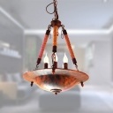 Industrial Vintage 5 Light Chandelier with Rope in Rust Finish