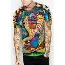 Chic Digital Scrawl Monster Print Short Sleeve Round Neck Tee