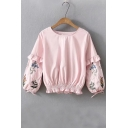 Peasant Round Neck Floral Embroidered Elastic Waist Pullover Blouse