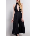 Decent Halter Neck Cutout Front Open Back Striped Pattern Bow Tie Wide Leg Jumpsuit