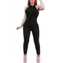 Fancy Halter Neck Criss-Cross Cutout Back Bodycon Slim Leg Plain Jumpsuit