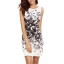 Elegant Floral Brush-Painting Pattern Round Neck Mini Tank Bodycon Dress
