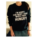 Casual Letter Print Long Sleeve Round Neck Pullover Sweatshirt