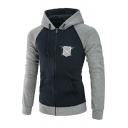 Stylish Color Block Print Raglan Sleeve Zipper Hoodie with Pocket