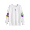 Chic Color Block Paper Plane Print Long Sleeve Round Neck Pullover Sweatshirt