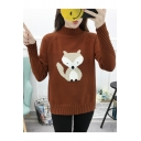 Chic Fox Applique Pattern High Neck Long Sleeve Casual Pullover Sweater