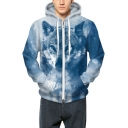 Stylish Snow Tibetan Wolf Pattern Long Sleeves Zippered Hoodie with Pockets
