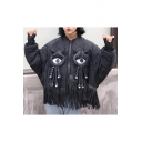 Funny Doll Embellished Tassel Hem Long Sleeve Cropped Coat