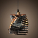 Industrial Pendant Light in Wrought Iron Style with Irregular Geometric Shade, Rust