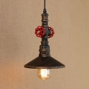 Industrial Pendant Light with Valve Decoration and Metal Shade, Rust